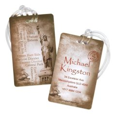 Set of 5 Personalised luggage tags in vintage New York design