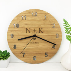 Personalised Initials Bamboo Wall Clock