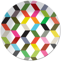 French Bull round platter in ziggy pattern