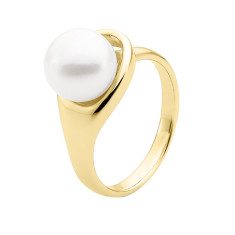 White button pearl 9ct yellow gold ring