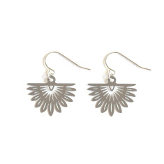 Stainless Steel Fan Palm Earrings