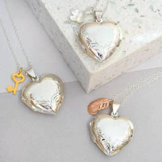 Sterling Silver Large Heart Charmed Locket