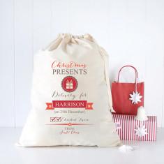 Checked twice personalised Santa sack