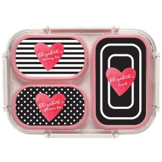 Personalised Bento Lunch Box - Stripe & Heart (Pink)
