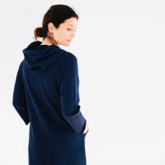 Hooded Track Dress in Navy
