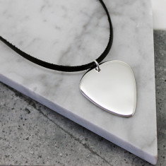Sterling silver guitar pick pendant on leather or sterling silver chain
