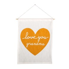 Love you grandma handmade wall banner with gold print