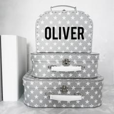 Personalised Star Suitcase Storage Box Trio