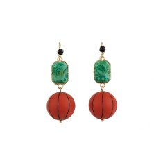Basket ball and colourful stone earrings