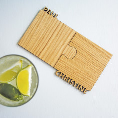 Personalised Cut Out Walnut Jigsaw Interlocking Coasters (Set Of Two)