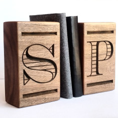 Personalised hardwood bookends
