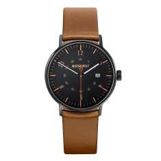 Black 39mm watch with natural leather band