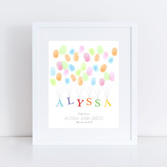 Personalised child's name fingerprint guest book & ink