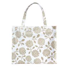 Oilcloth tote in hydrangea oatmeal