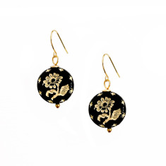 Gold inlay ebony wildflower earrings