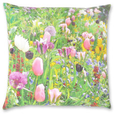 Monet's Flowers linen cushion cover