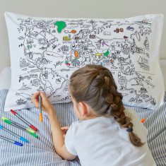 World Map pillowcase to colour in, with pens