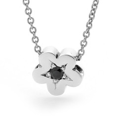Silver baby blossom black Sapphire necklace