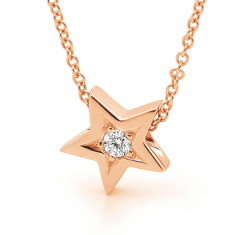 Rose gold and diamond baby star necklace