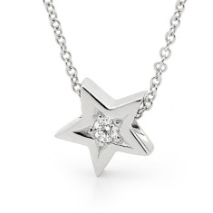 White gold diamond baby star necklace