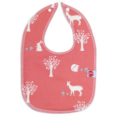 Baby bib in field friends coral
