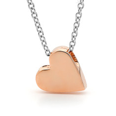 Silver and rose gold baby heart necklace