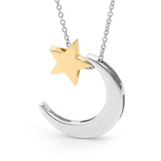 Yellow gold baby star and sterling silver crescent moon necklace
