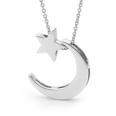 Sterling silver crescent moon and baby star necklace