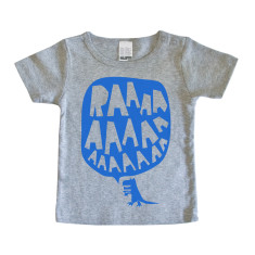 Baby RAAAAA t-shirt in blue on grey