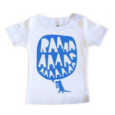 Baby RAAAAA t-shirt in blue on white
