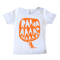 Baby RAAAAA T-Shirt - Fluorescent Orange on White