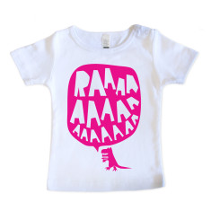 Baby RAAAAA t-shirt in fluorescent pink on white
