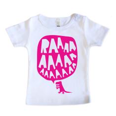 Baby RAAAAA t-shirt in fluorescent pink on white
