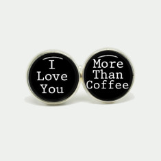 I love you more than coffee silver or antique cufflinks