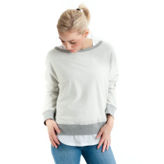 Reverse Drop Back Sweat in Grey Marle