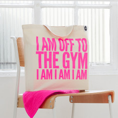 Off to the gym bag in neon pink
