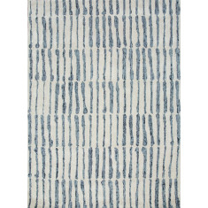 White/Blue hand tufted wool & art silk rug