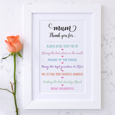 Personalised Thank You Mum Mother's Day Print