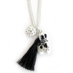 Chain necklace with ballet slipper, diamonte ball and tassel