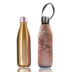 Stainless steel future bottle 750 ml with carry cover in bamboo print