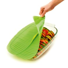 Banana Leaf airtight silicone lid, splatter guard, cooking and reheating lid