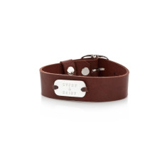 Banjo personalised sterling silver and leather cuff