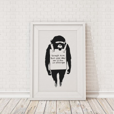 Banksy monkey sign framed print