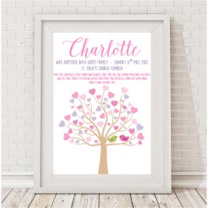 Personalised girl or boy baptism or christening tree print