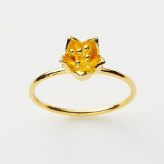 Baronia single bud ring in gold or rose gold plate