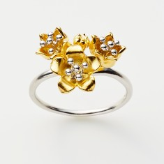 Baronia 4 bud ring in two tone