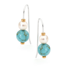 Sterling silver howlite Baroque earrings