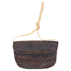 Basile raffia & leather handbag