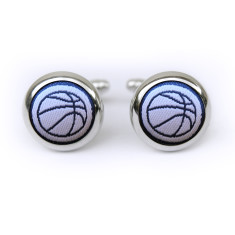 Basketball cufflinks in navy