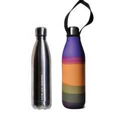 Stainless steel future bottle 750 ml with carry cover in basslet print